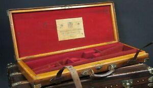 Antique-Holland-amp-Holland-Double-Oak-amp-Brass-Gun-Case-Superb-Condition