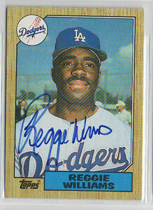 Reggie Williams 1987 Topps signed autographed card Los Angeles Dodgers