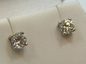 b0b53cae3 14K DIAMOND STUD SCREW BACK EARRINGS 14 KARAT WHITE GOLD 1 CARAT ...