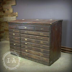 Ordinaire Image Is Loading Antique Wooden 17 Drawer Flip Top Storage Map