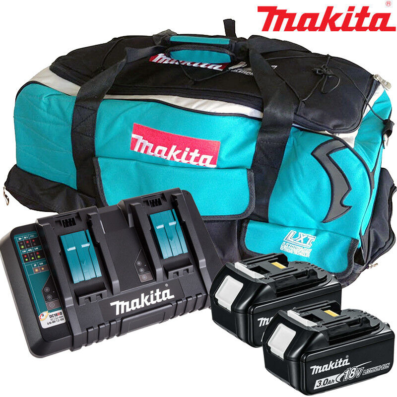 Makita 2 x BL1830 Battery + DC18RD Charger + LXT600 Bag For DSP600ZJ Saw