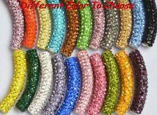 10pcs/lot 45mm pave disco mixed long bending tube crystal shamballa beads DIY