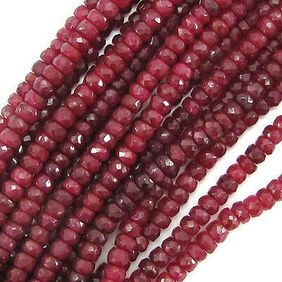"4mm faceted genuine red ruby rondelle beads 14"" strand"