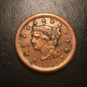 1851 Braided Hair Large Cent AU About Uncirculated Coronet Late Date Newcomb EAC