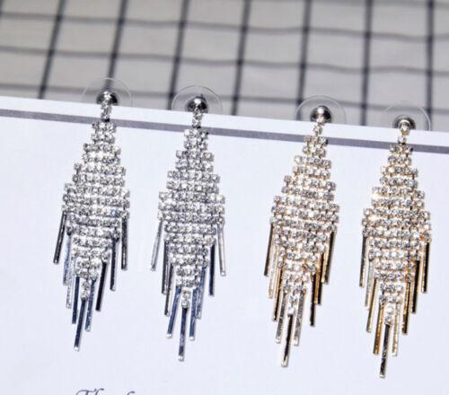 Cadena larga circonita fastuoso 925er plata pendientes aretes fiesta regalos