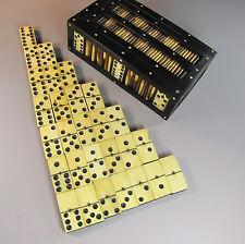 ANTIQUE 19THC PORCUPINE QUILL GAME BOX EBONY BOVINE BONE DOMINOE SET