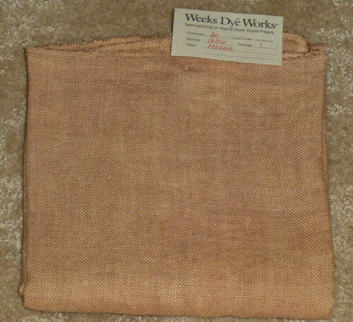 "20 ct Weeks Dye Works MOCHA Linen 53/"" x 17/"" counted cross stitch fabric"