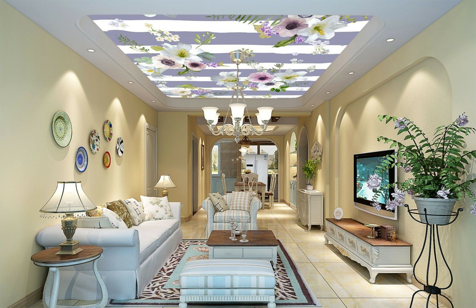 3D Flower Painting 409 Ceiling Wall Paper Print Wall Indoor Wall Murals CA Jenny