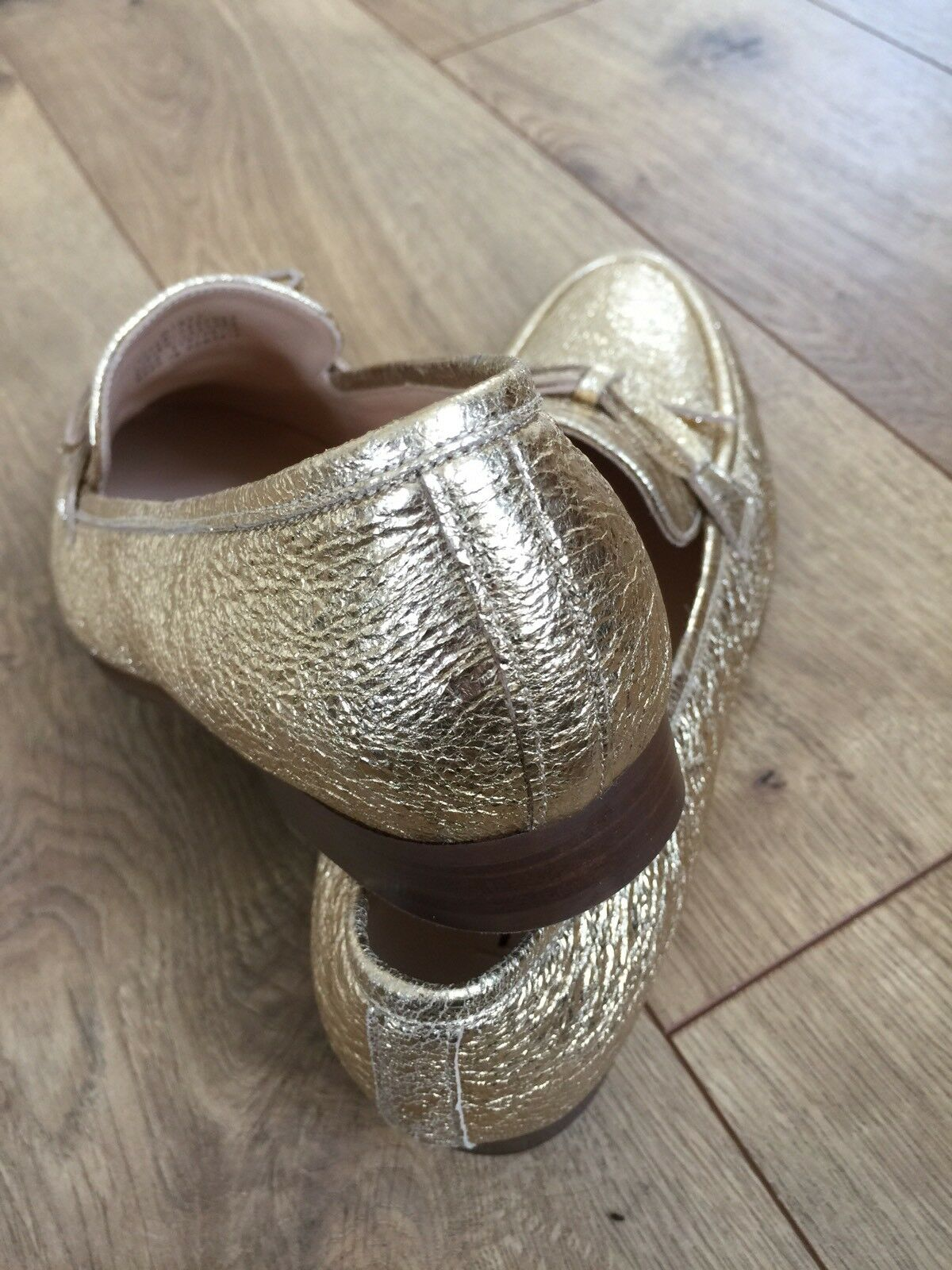 New J.crew Academy loafers In In In Metallic gold Leather Size 7 H1872 64d5c9