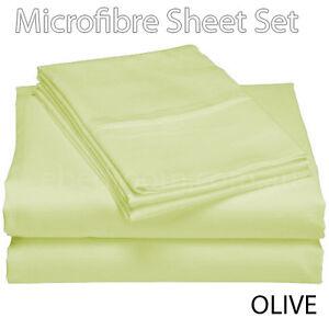 Image Is Loading 75GSM OLIVE GREEN 100 Soft Microfiber King Single