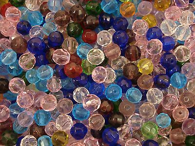 Crystal Glass Faceted Beads 8mm. 75pcs Mix Cols Beading Jewellery FREE POSTAGE