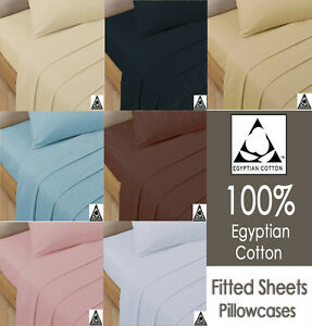 Luxury-100-Egyptian-Cotton-200-Thread-Count-Fitted-Sheet-All-5-Size-S-D-K-Sking
