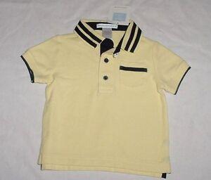 5eaa82aa NWT Janie & Jack Boys AT THE SHORE Yellow & Navy Blue Polo Shirt 3-6 ...