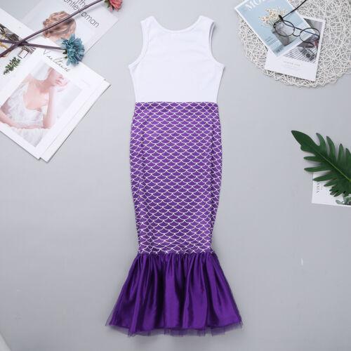 Girls Mermaid Costume Dress Kids Toddler Cosplay Party Fancy Tail Maxi Skirt Set