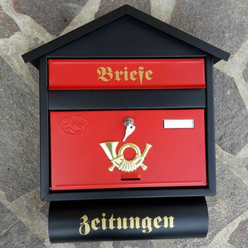 XXL Briefkasten Postkasten Schwarz Rot Matt Zeitungsfach Wandmontage Nostalgie