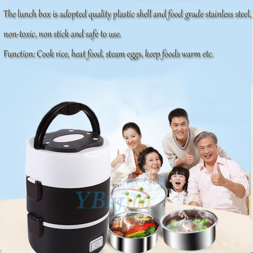 Portable 220V 3 Tier Electric Heating Lunch Box Set Food Warmer Container Case