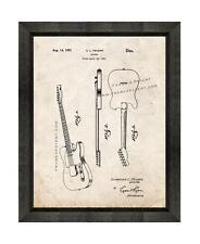 Clarence Fender Guitar Patent Print Old Look in a Beveled Black Wood Frame