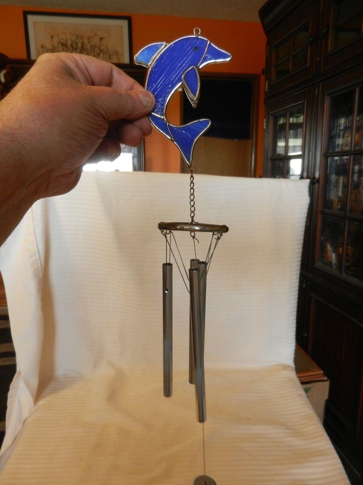 Colgante Cristal Azul Delfín Cocheillón de viento con Delfín Striker 18.5  de largo