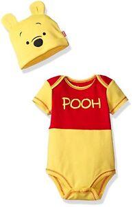 Disney-Boys-039-Winnie-the-Pooh-Bodysuit-with-Cap-Set