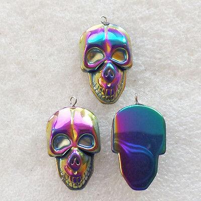 3Pcs Interesting Carved Hematite Skull Pendant bead H-502