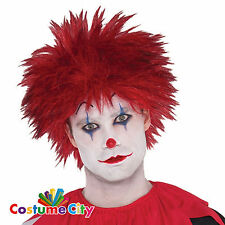 Adults Mens Evil Killer Clown Red Wig Halloween Fancy Dress Costume Accessory