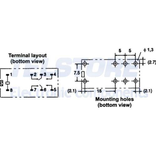 1pcs G2R-2-12DC Relè elettromagnetico DPDT Ubobina 12VDC 5A//250VAC 5A//30VDC OMRO