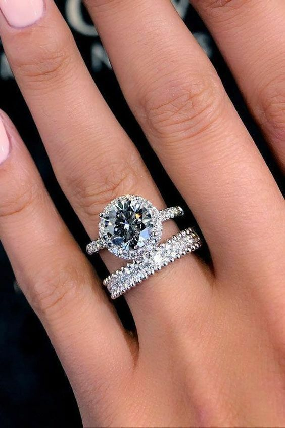 Certified 8 MM Round Moissanite Promise Engagement Bridal Ring Set in 14K W.gold