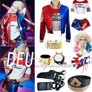 Harley-Quinn-Damen-Cosplay-Kostueme-Jacke-Daddy-039-s-Lil-Monster-Tops-Shorts-Outfits