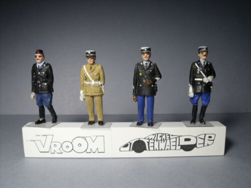 4  FIGURINES  1//43  SET 324  GENDARMERIE  POLICE  NATIONALE  VROOM  NON  PEINT
