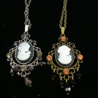30 Antique Look Cameo Necklace W/ Crystal Stones/ Gold Or Silver + Earrings