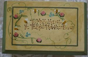 HAND-CRAFTED-VERY-COLLECTIBLE-MILLS-RIVER-SRI-LANKA-RECIPE-BOX-BEE-THEME