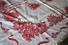Vintage Christmas Red White Poinsettia  Candle Square Linen Tablecloth 46