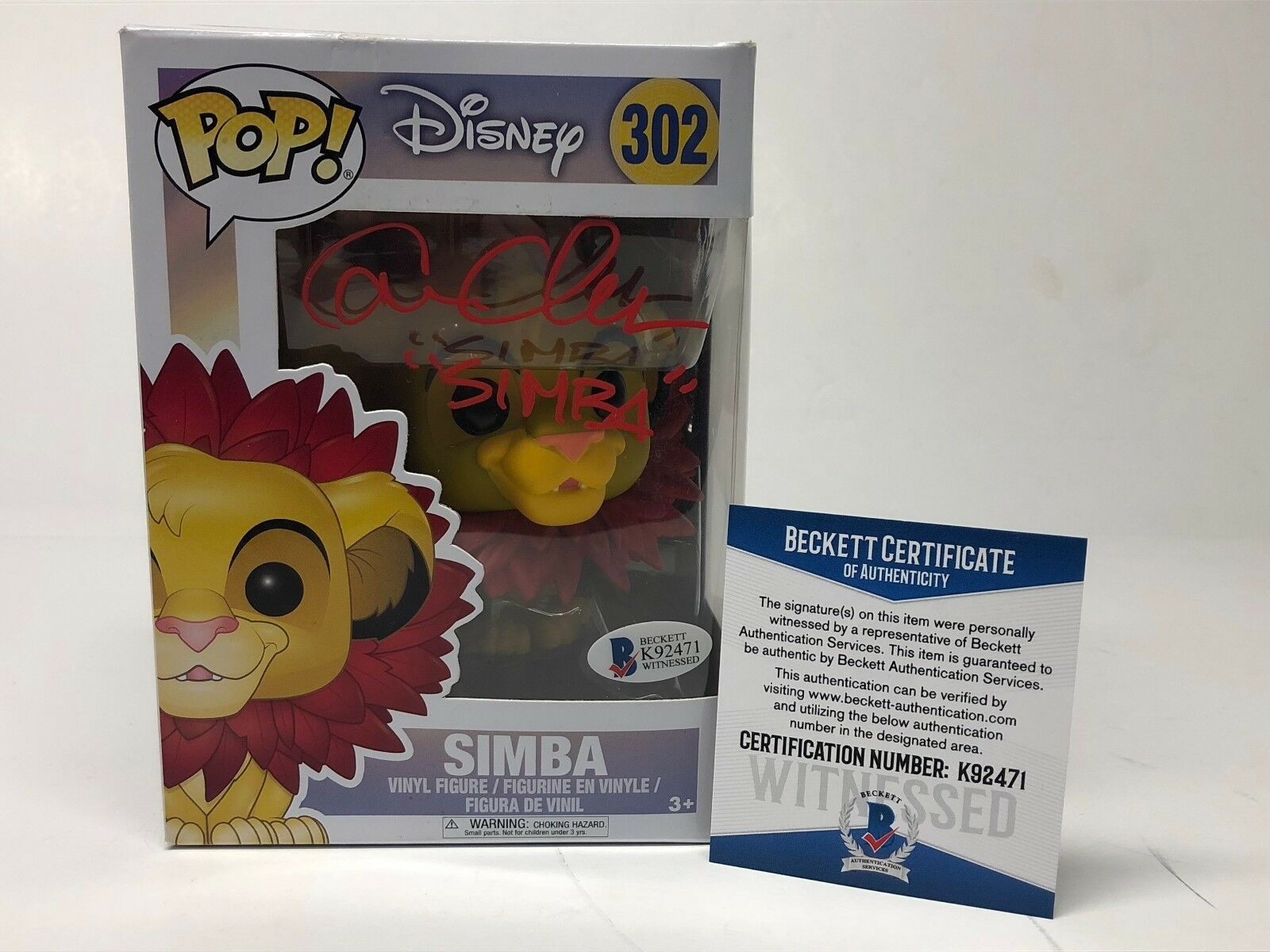 Cam Clarke Signed Disney's Lion King Simba Funko Pop BAS Beckett K92471