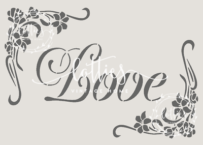 STENCIL A5 LOVE FLORAL ❤ Furniture Fabric Arts Vintage Shabby Chic Makeover
