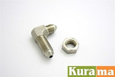 AN3 AN-3 90 degree Male Bulkhead Brake Hose Fittings + Nut Line Stainless Steel