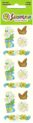 Sandylion Vintage Daisy Flower in Pot /& Butterfly Stickers 1 Strip BNIP RETIRED