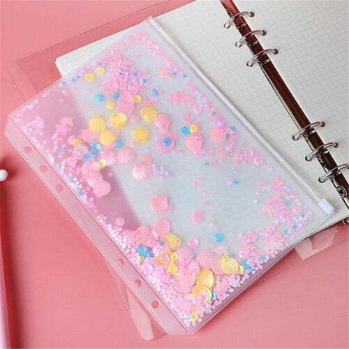 Glitter Sequins A5 A6 Inner Pocket Standard Loose Leaf Zipper 6 Hole File Holder