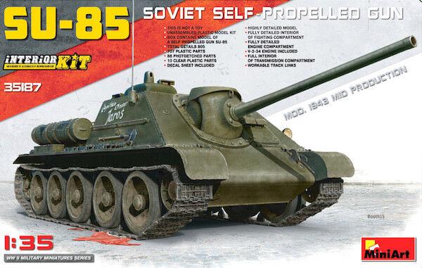 Precio por piso Miniart 1 35 Russo SU-85 Mod.1943 ( Metà Produzione) Produzione) Produzione) con Lunga Interiore  35187  autorización