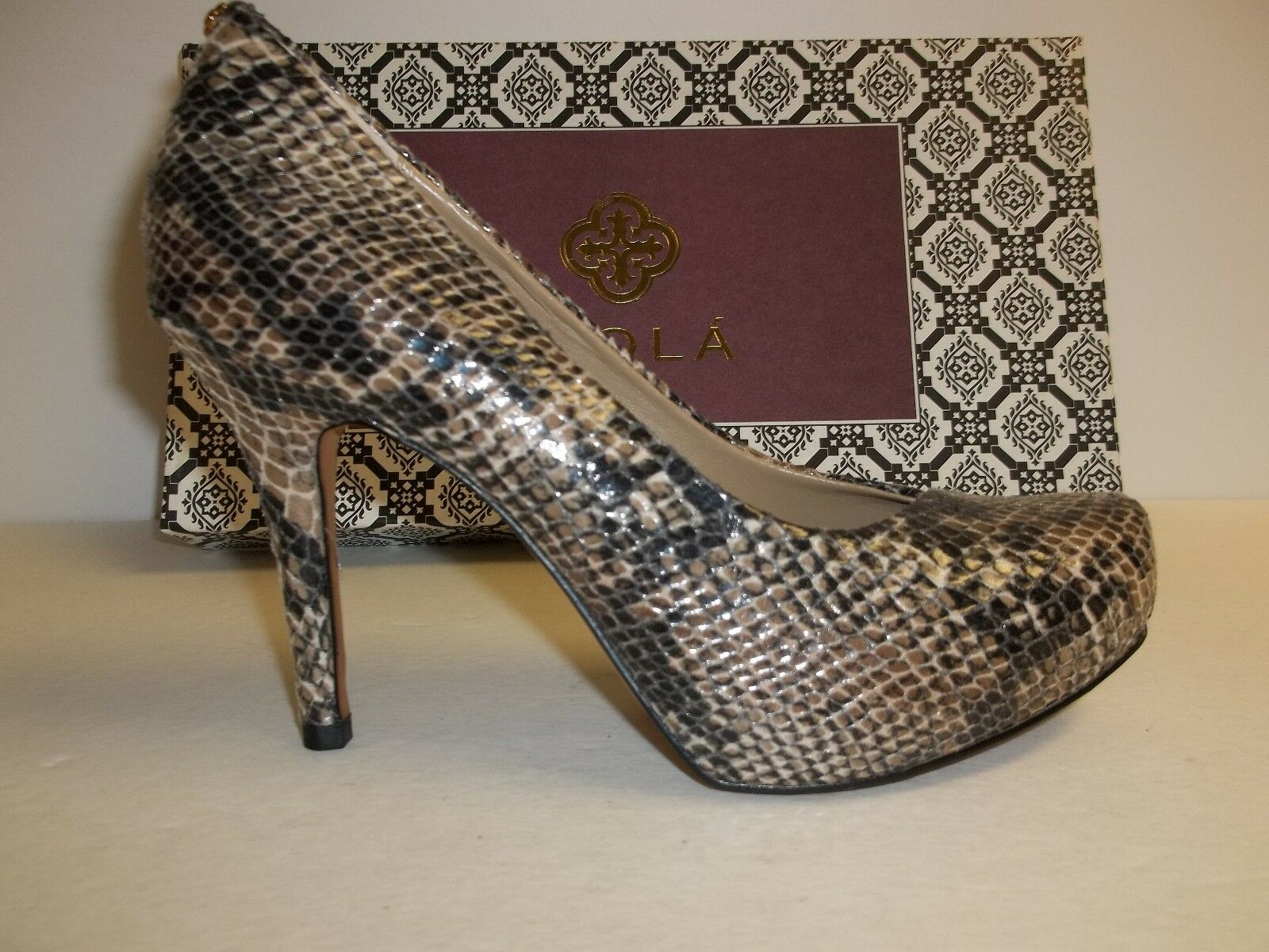 Isola Größe 7 M CAGNEY Snake Print Sand Leather Platform Pumps New damen schuhe