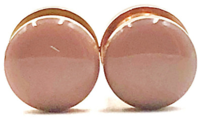 Sizes 16g to 1inch Handmade Frosted Holographic on Rose Gold Plugs