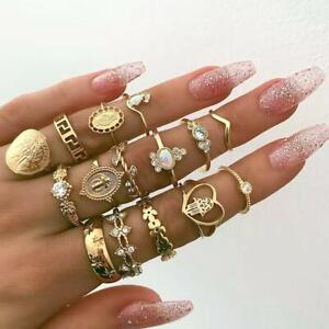15-Teile-satz-Gold-Midi-Fingerring-Set-Vintage-Punk-Boho-Knuckle-Ringe-Schmuck