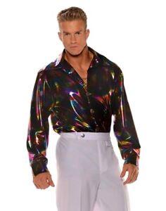 Men's Disco Retro Shirt Long Sleeve Adult Costume Accessories 60s 70s Std-XXL