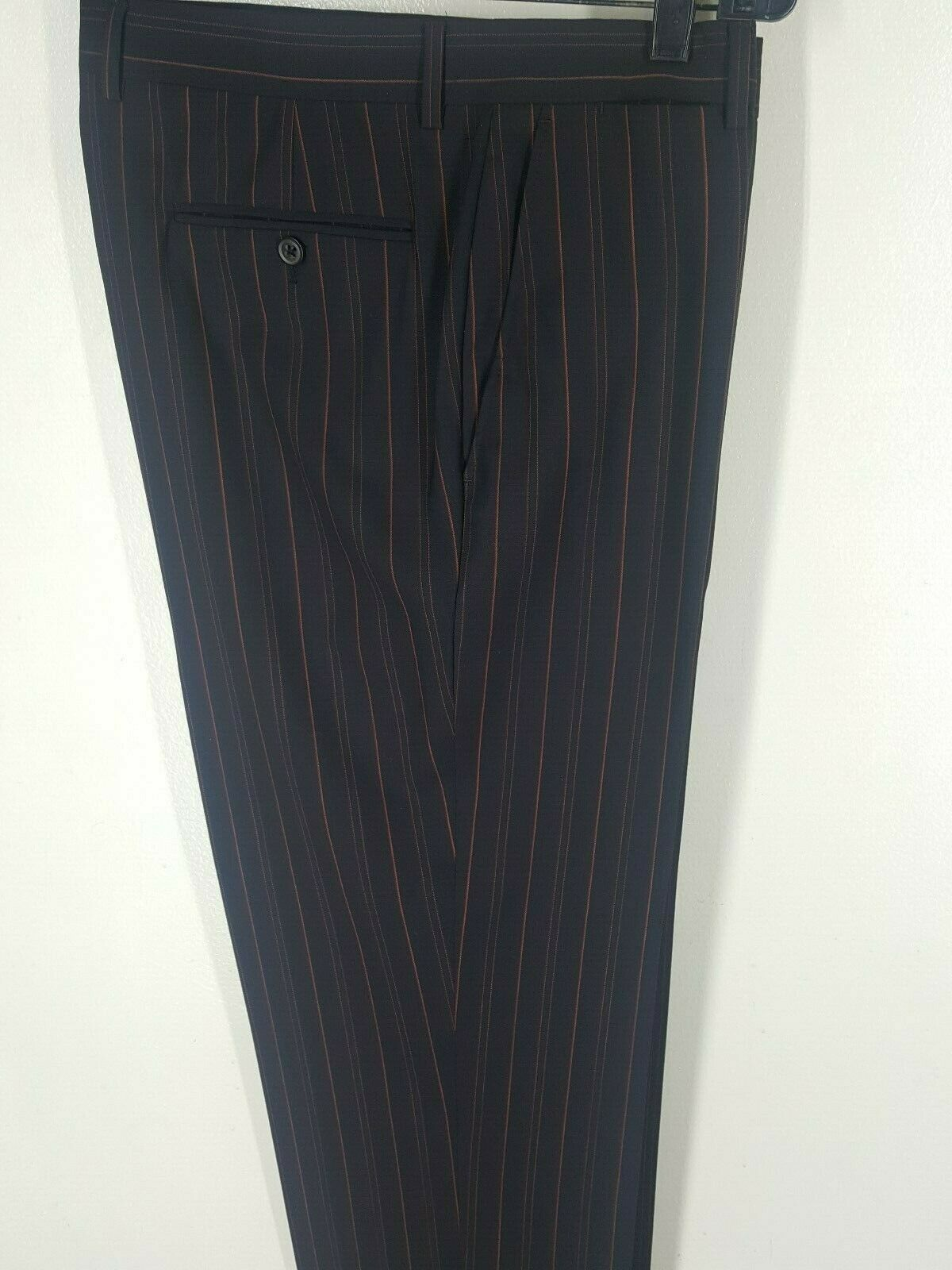 ETRO Made In  100% Pure 4 Season Wool Flat Front Striped Pants 34