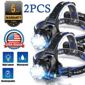 2pcs Rechargeable Tactical 350000LM T6 LED Headlamp 186*50 Headlight Head Torch