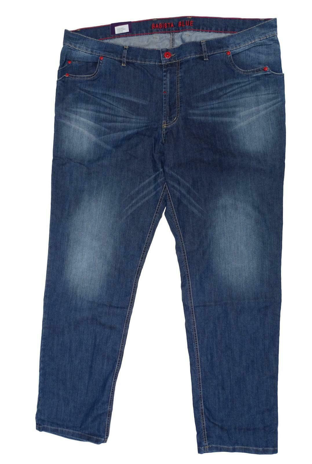 New plus Size Great Men's Stretch Jeans Pants bluee Buttons u.Rivets in Red 62