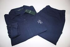 NWT RALPH LAUREN Med Women's 3/4 Adjust Sleeve Navy Cotton Knit Pajama Pant Set