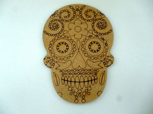 Wooden Sugar Skull Mdf craft blank tag Decoration CFE212