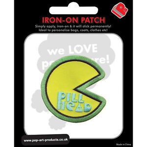 Pill-Head-Iron-On-Patch-Pac-Man-Style-Retro-Gamer-Geek-Chic-Gift