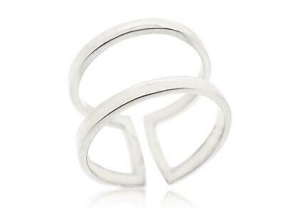 925 Sterling Silver Midi Find Adjustable Ring Double Line Band Rings Size 5 12 Ebay