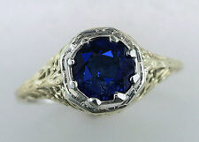 Vintage Antique 1ct Sapphire 14K Yellow & White Gold Art Deco Engagement Ring